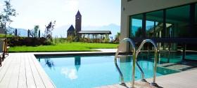 Freibad des neuen Wellness-und Beautybereichs des Reithof Hotel Sulfner in Hafling