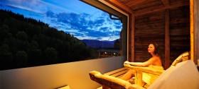 Wellnessurlaub in Hafling: Sauna mit fantastischem Blick